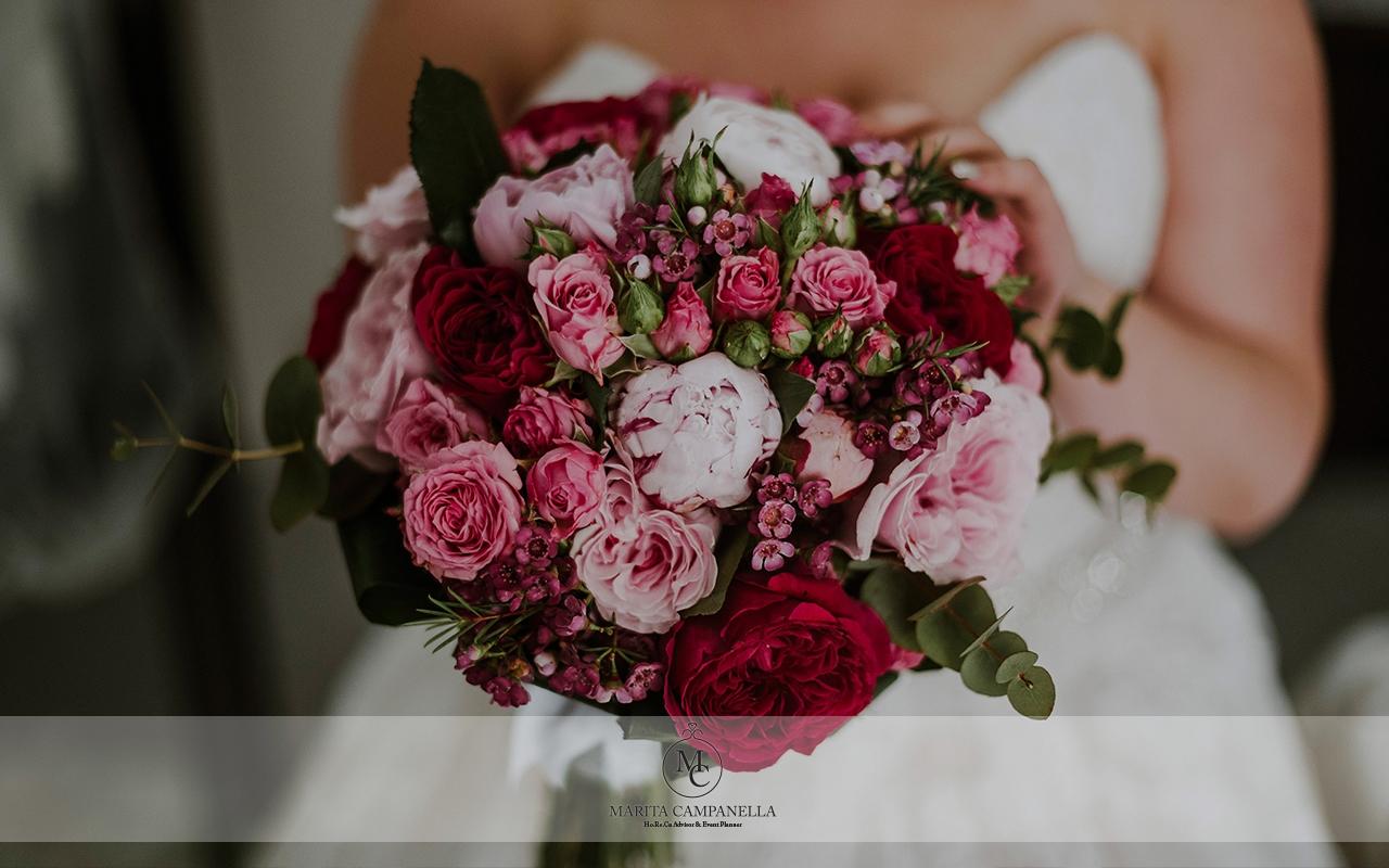 matrimonio stile inglese bouquet fucsia