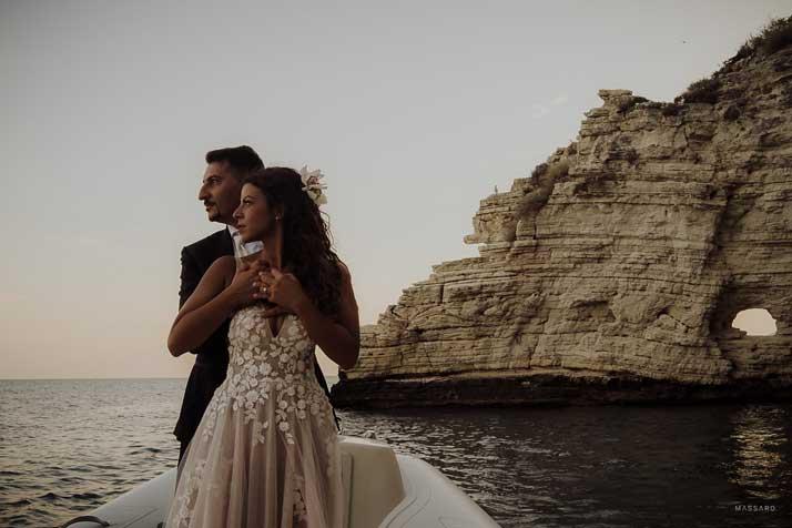 matrimonio antonio e annarosa sposi in barca